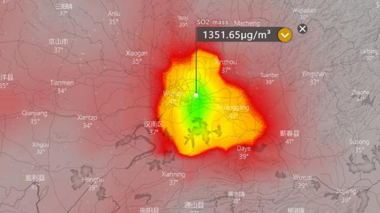 viral satya corona virus satellite images sulphur dioxide idicate in china