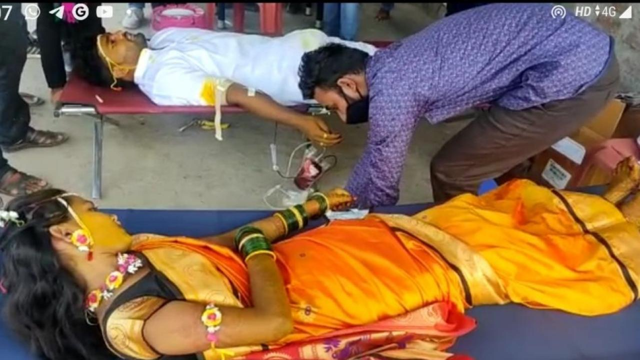 Bride and Groom in Baramati Donated Blood on Wedding Day in Baramati