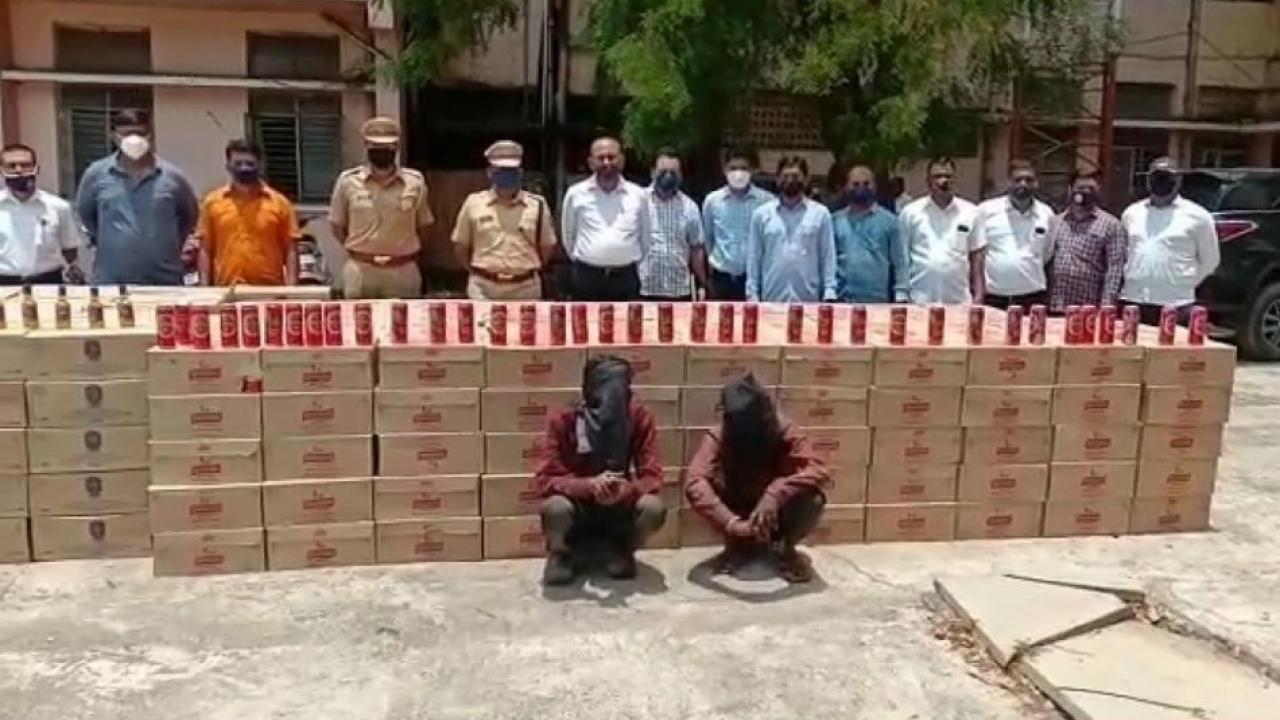 Seizure of liquor worth over Rs 18 lakh from a crime investigation team of Dhule