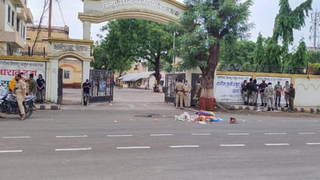 An angry corporator threw garbage outside the collector's office