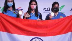 ISSF World Cup Chinky Manu and Rahi India womens 25m team  win pistol gold