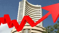 Sensex up 300 points, Nifty above 10,800