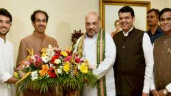 BJP National President Amit Shah accompanied by Maharashtra CM Devendra Fadnavis and State BJP chief Raosaheb Danve meets Shiv Sena President Uddhav Thackeray and his son Aditya Thackeray at Matoshree in Mumbai on Sunday. PTI Photo