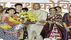 A file photo of Ram Nath Kovind along with his wife Savita and daughter Swati (extreme right) accepting greetings on being elected as the 14th President of India.