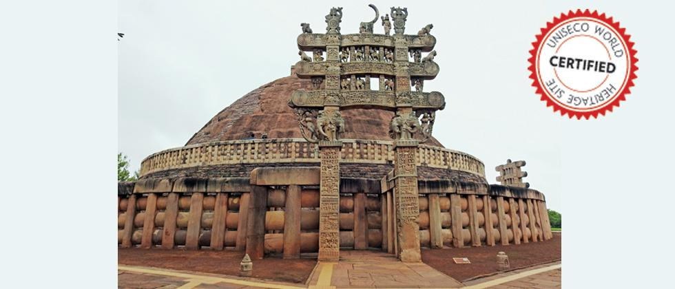 SANCHI STUPA, MADHYA PRADESH: On a hill overlooking the plain and about 40 km from Bhopal, the site of Sanchi comprises a group of Buddhist monuments (monolithic pillars, palaces, temples and monasteries), most of which date back to the 2nd and 1st centur