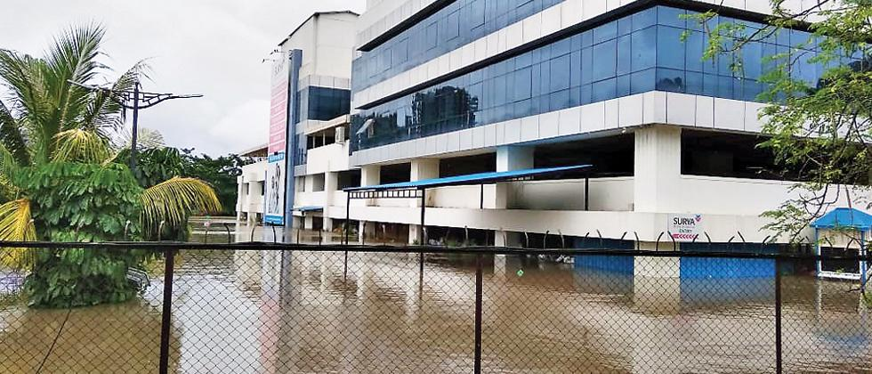 WATER WATER EVERYWHERE: Surya Hospital in Wakad  was flooded with water on Sunday due to continuous rains.