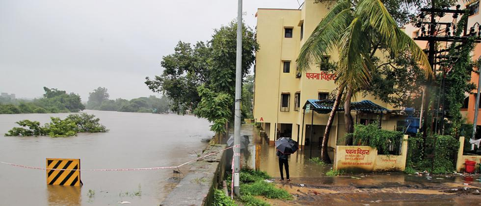 FLOODED: The societies on the bank of the Pavana river were affected by the continuous rainfall. (Pic: Parag Jadhav)