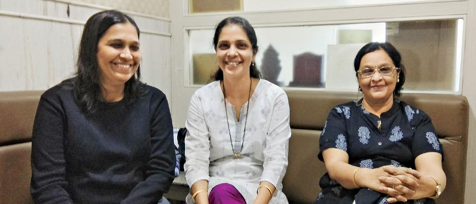 (L to R) Prachi Junawane, Manushree Apte and Alka Joshi who contributed to the book 'Cancer Kitchen' brought out for cancer patients.