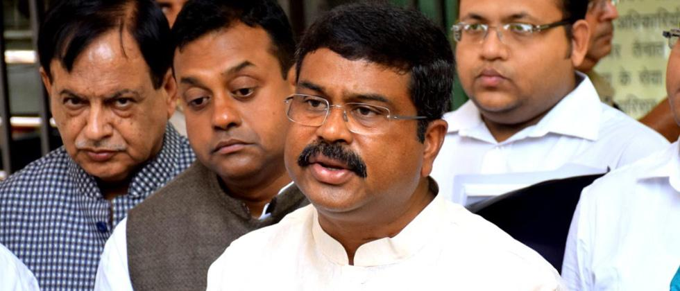 Union Minister Dharmendra Pradhan interacts with media after a meeting with EC in New Delhi, on Wednesday. Photo: ANI