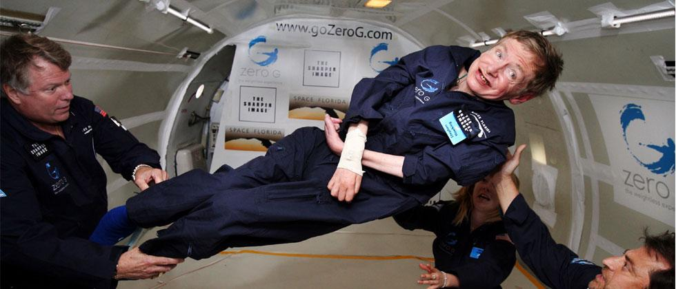 In this file photo taken on April 26, 2007 and released by Zero G, British cosmologist Stephen Hawking experiences zero gravity during a flight over the Atlantic Ocean. Photo/Zero G/AFP