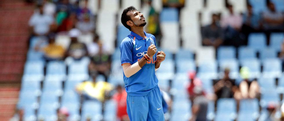 Indian bowler Yuzvendra Chahal celebrates the dismissal South African batsman Chris Morris during the second One Day International cricket match between South Africa and India at Centurion cricket ground. AFP Photo by GIANLUIGI GUERCIA