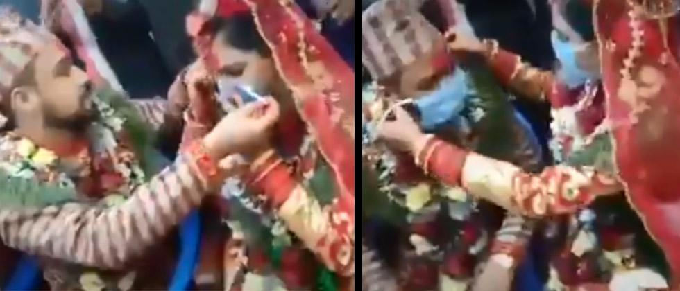 Video: Bride and groom exchange face masks in wedding amid COVID-19 lockdown
