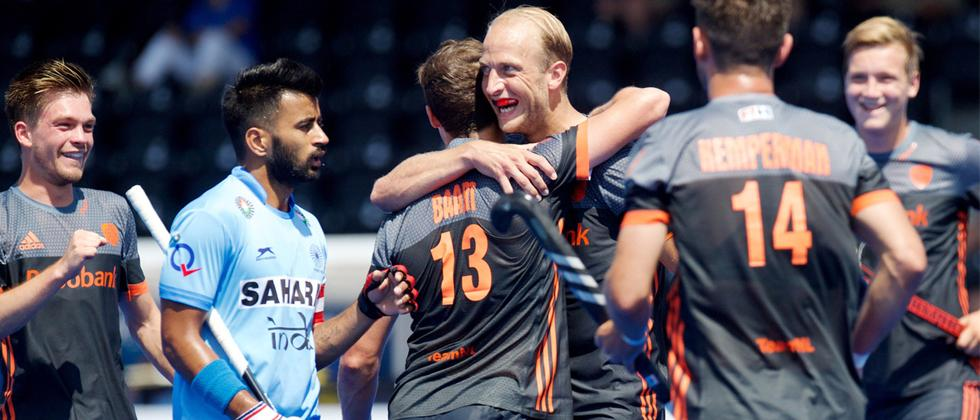 Netherlands celebrating a goal against India at the semifinal of Hockey World League