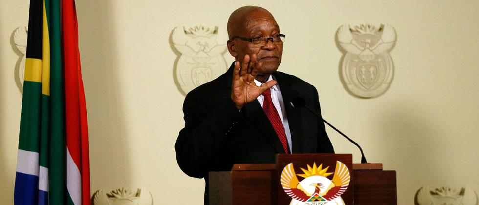 President of South Africa Jacob Zuma addresses the nation at the Union Buildings in Pretoria on February 14, 2018, saying that he resigns 'with immediate effect'. Photo - AFP Photo/Phill Magakoe