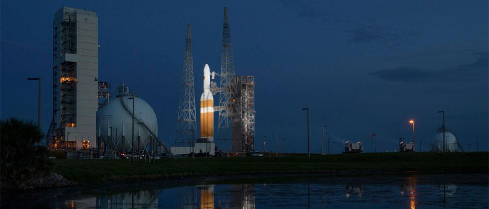 This handout photo released by NASA shows the United Launch Alliance Delta IV Heavy rocket with the Parker Solar Probe onboard shortly after the Mobile Service Tower was rolled back on August 10, 2018. Bill Ingalls/NASA/AFP