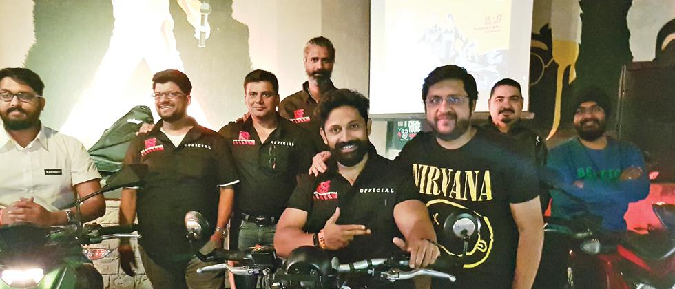 Dr Amol Talpade of ISF (2nd from left) announcing the 7th edition of the ISF in Pune along with other bikers and Avinash Agarwal of Classic Rock Coffee Co