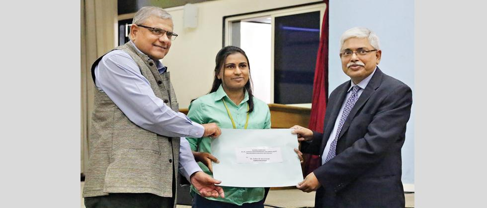 (L to R) CSIR-NCL Director Ashwini Nangai, awardee Nalenee Suryavanshi and Prof Anil Bhowmick, chief guest at NCL auditorium during a lecture and award function National Science Day on Wednesday.