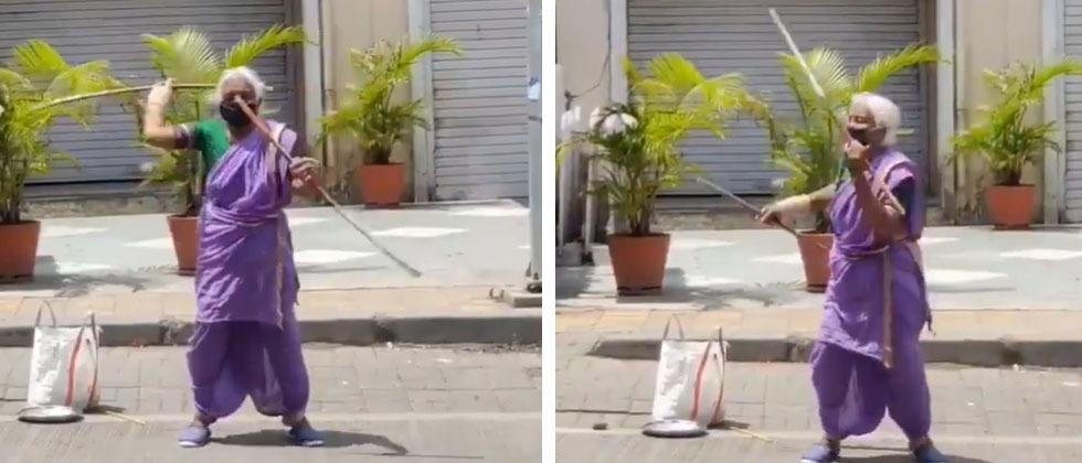 Meet Warrior Ajji from Pune. An 85-year-old woman is winning hearts with her fabulous stick swinging skills