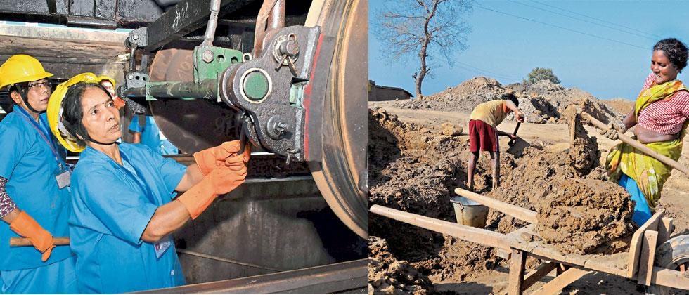 (L) Women workers check the maintenance of a train ahead in Guwahati; (R) a woman works at a brick field in a village on the the outskirts of Amritsar on Wednesday, a day before International Women's Day