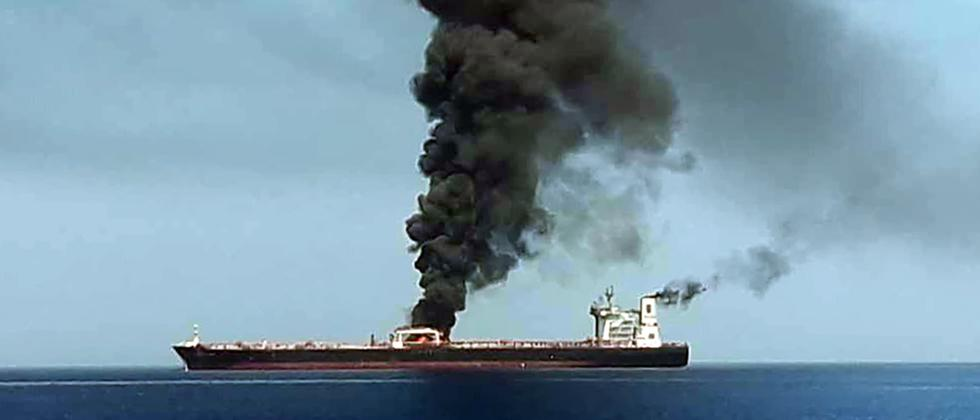 The Indian Oil Corporation (IOC) chartered huge oil tanker 'New Diamond', laden with about 3,00,000 tonne of Kuwaiti crude on fire, has been towed more than 35 nautical miles away from Sri Lankan coast to safe waters, Indian Coast Guard said on Saturday.