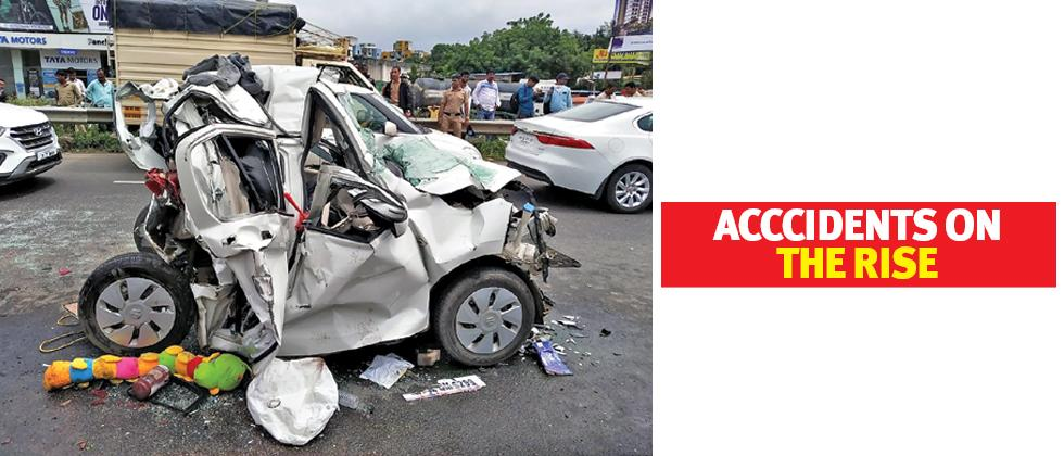 Close shave for man as truck rams into car on Warje flyover