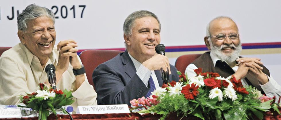 (L-R) Pune International Centre VP Vijay Kelkar, Israeli Ambassador to India Daniel Carmon and PIC Trustee Abhay Firodia at the lecture on Thursday.