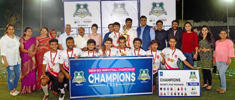 Yuvraj Chavan Constructions Pvt. Ltd. Gunners pose with their trophy at Castel Royal, Range Hills
