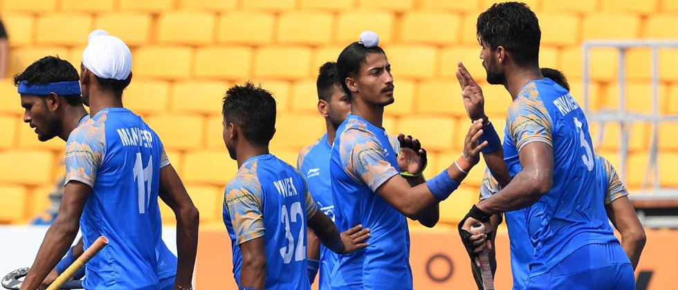 India players celebrate after scoring a goal during the men's hockey pool A match between India and Hong Kong at the 2018 Asian Games in Jakarta on August 22, 2018