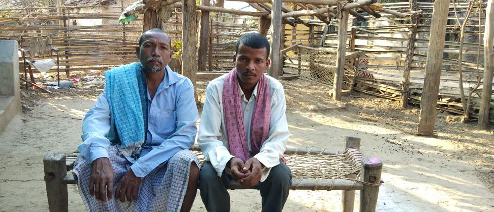 ( L-R)Supari Khese, father of Ramlal Khese who was killed sitting along with Premlal Minj