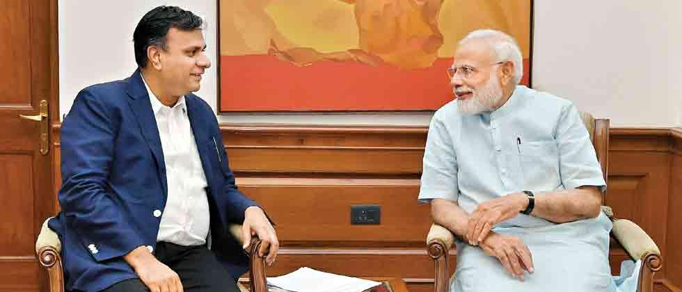 In conversation: Prime Minister Narendra Modi (R) during an exclusive interview with Sakal Media Group's Managing Director Abhijit Pawar, in New Delhi.