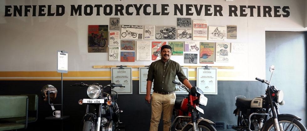 Mr. Shaji Koshy, Head India+ Business, Royal Enfield at the launch of the first Vintage Store in Chennai
