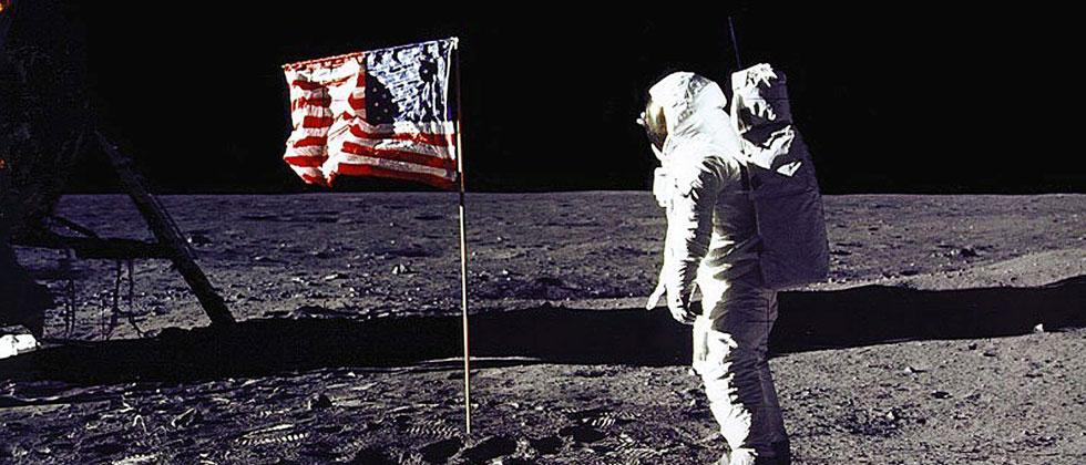 """NASA file photo, July 20, 1969 shows astronaut Edwin E. """"Buzz"""" Aldrin, Jr. saluting the US flag on the surface of the Moon during the Apollo 11 lunar mission. Donald Trump directed NASA to send Americans to the Moon to help prepare for a future Mars trip"""