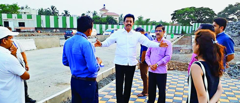 Anil Shirole, MP during his visit to the Pune airport  along with other officials.
