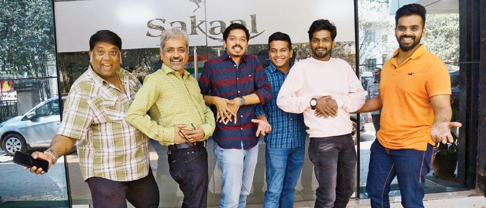 Director Sameer Patil, producer Uttung Thakur and actors Shivraj Waichal, Jaywant Wadkar and Rohit Mane spoke about their film Vikun Taak during their visit to the Sakal Times office