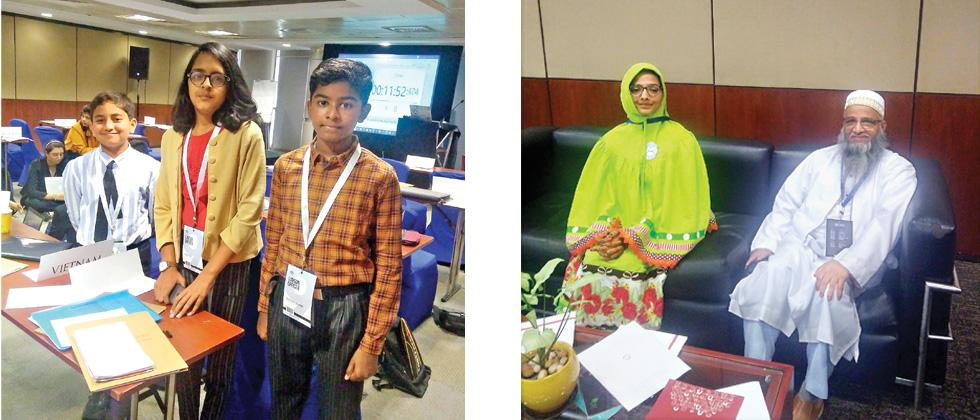 (Left) (L to R) Saksham, Anjali and Gurushiv.  (Right) Naqiya Saifee and Husain Abbasi, educator with MSBD.