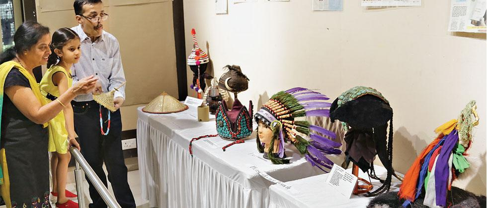 On the occasion of International Collectors' Society of Rare Item Exhibition, Anant Joshi's collection of headgear is being showcased for the visitors