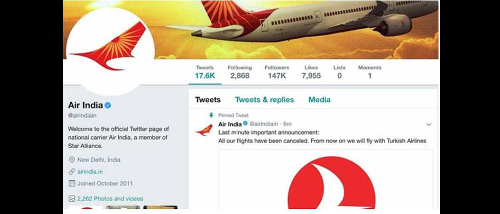 Air India's Twitter handle briefly hacked, restored