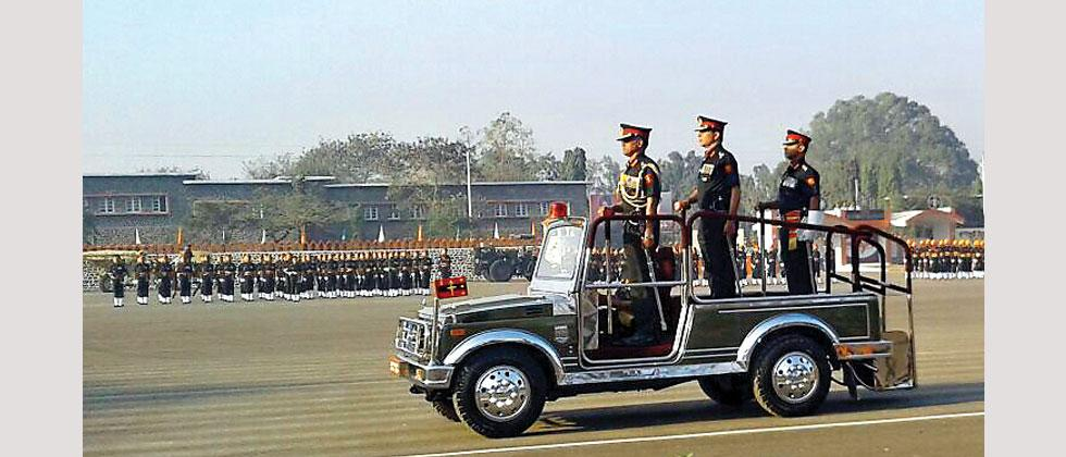 Northern Army Commander Lt Gen Devraj Anbu reviewing the commeration parade of The Bombay Sappers