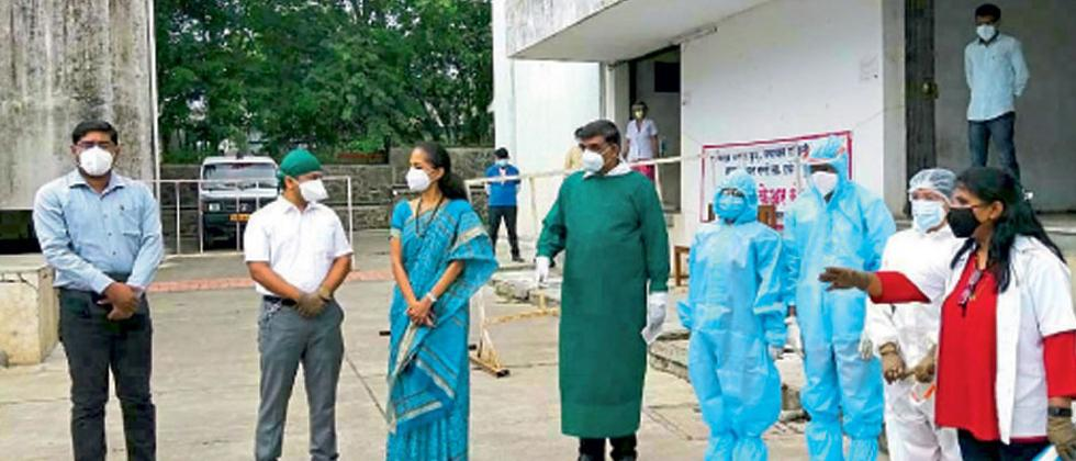 Pune: MP Supriya Sule visits Covid Care Centre at Narhe to review healthcare facilities