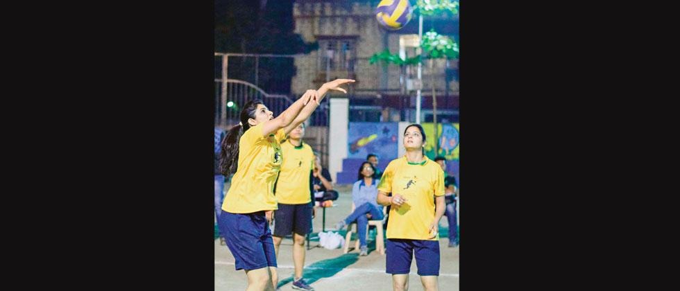 A match in progress between Infosys and Tech Mahindra at Symbiosis School