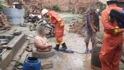 A team of at least five firefighters rushed to rescue the man. Last week the group shared the video of the man, shirtless patiently waiting for help with his arms crossed.