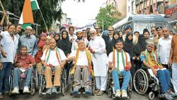 Seva Mitra Mandal Trust, along with Khadak Police Station organised a Sadbhavana Rally of Ganesh devotees along with disabled soldiers from Paraplegic Centre on Sunday.