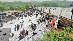 Popular tourist attraction Bhushi Dam overflows; heavy rains in Lonavala and Khandala