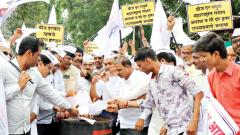 Pimpri Chinchwad Small Scale Industries Association members protest at the MSEDCL office in Bhosari on Tuesday.