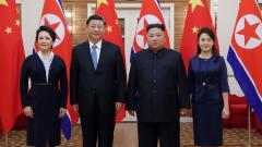 In this Thursday, June 20, 2019, photo provided by the North Korean government, North Korean leader Kim Jong Un, center right, his wife Ri Sol Ju, right, Chinese President Xi Jinping, center left, and his wife Peng Liyuan pose for a photo at Kumsusan gues