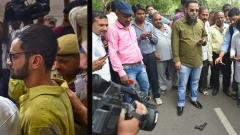 (L)Jawaharlal Nehru University (JNU) student Umar Khalid looks on after an attempt was made to shoot him by an unidentified person at the Constitution Club near Parliament in New Delhi on Monday. (R) People gather near the pistol used to shoot Umar Khalid