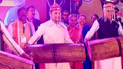 Rahul Gandhi shakes a leg with tribals in Raipur
