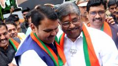 CM Fadnavis, Patil celebrate win at Headquarter