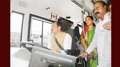 Mayor Jadhav conducts test drive of E-bus
