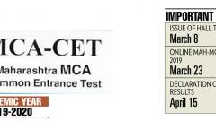 MCA CET entrance test on March 23